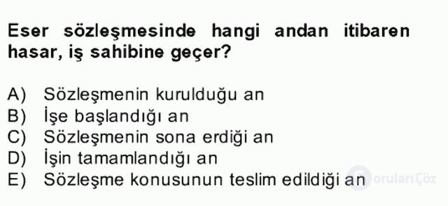Medeni Hukuk II Bahar Final 27. Soru