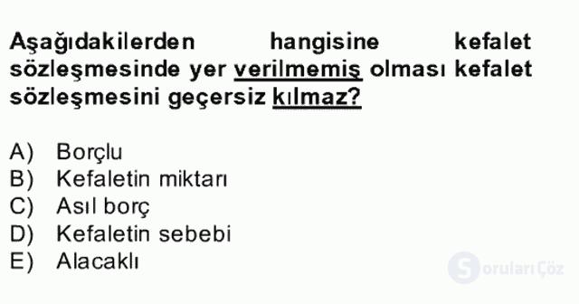 Medeni Hukuk II Bahar Final 29. Soru