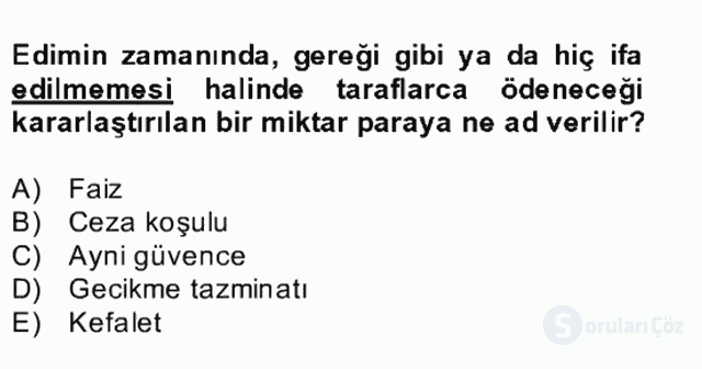 Medeni Hukuk II Bahar Final 3. Soru
