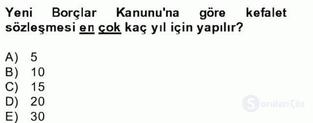 Medeni Hukuk II Bahar Final 30. Soru