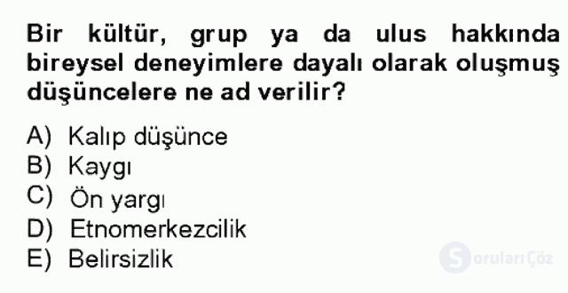 Kültürlerarası İletişim Bahar Dönemi Final 3. Soru