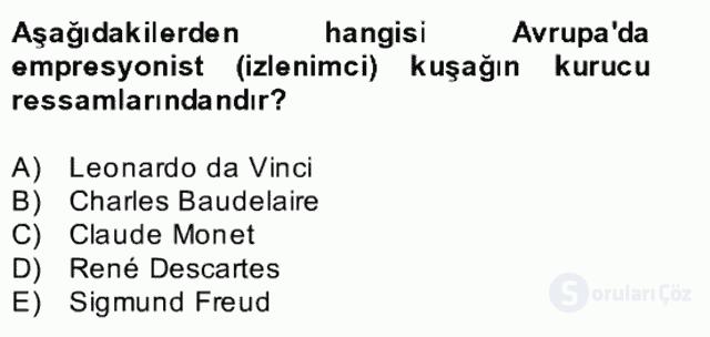 Kültür Tarihi Bahar Final 19. Soru