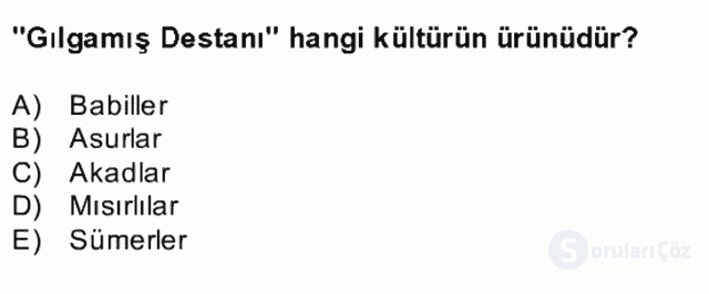 Kültür Tarihi Bahar Final 3. Soru