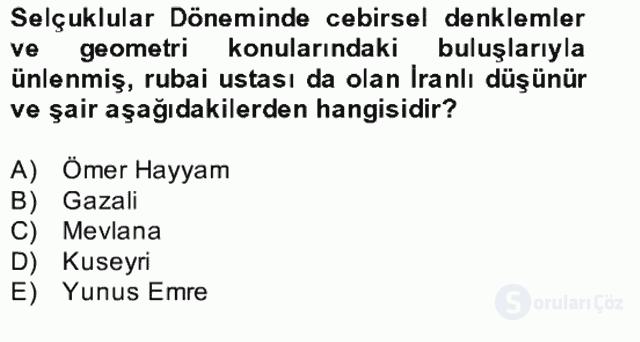 Kültür Tarihi Bahar Final 5. Soru