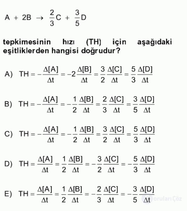 Genel Kimya II Bahar Final 10. Soru