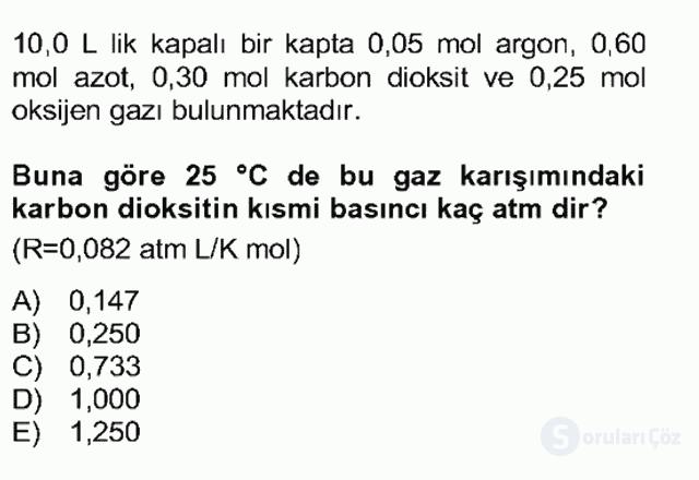Genel Kimya II Bahar Final 2. Soru