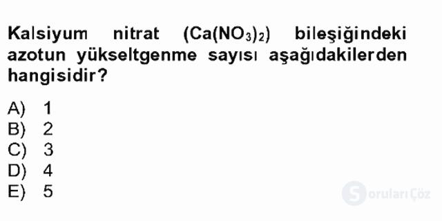 Genel Kimya II Bahar Final 22. Soru