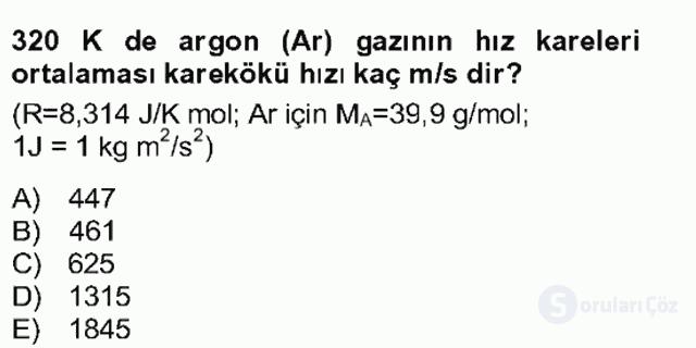 Genel Kimya II Bahar Final 3. Soru
