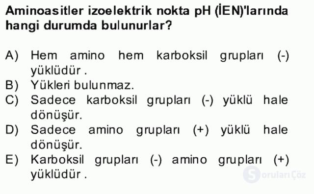 Temel Veteriner Biyokimya Bahar Final 15. Soru