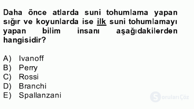 Doğum Bilgisi ve Sun'i Tohumlama Bahar Final 9. Soru