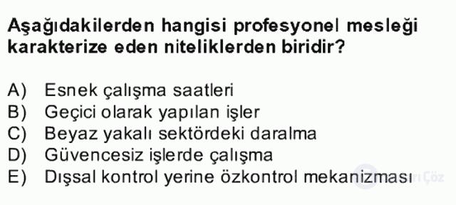 Endüstri Sosyolojisi Bahar Final 13. Soru