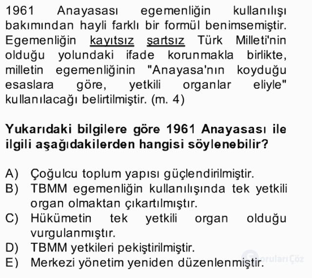 Türk Siyasal Hayatı Bahar Final 10. Soru