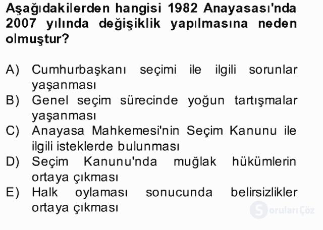 Türk Siyasal Hayatı Bahar Final 11. Soru