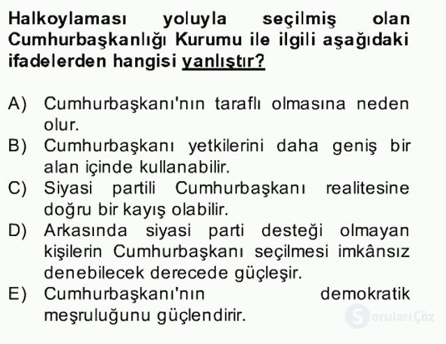 Türk Siyasal Hayatı Bahar Final 12. Soru