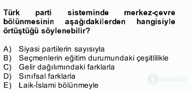 Türk Siyasal Hayatı Bahar Final 18. Soru