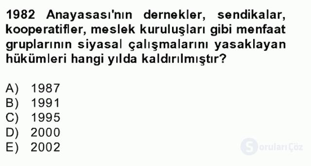 Türk Siyasal Hayatı Bahar Final 25. Soru