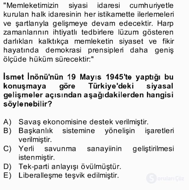 Türk Siyasal Hayatı Bahar Final 5. Soru