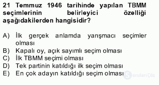 Türk Siyasal Hayatı Bahar Final 6. Soru