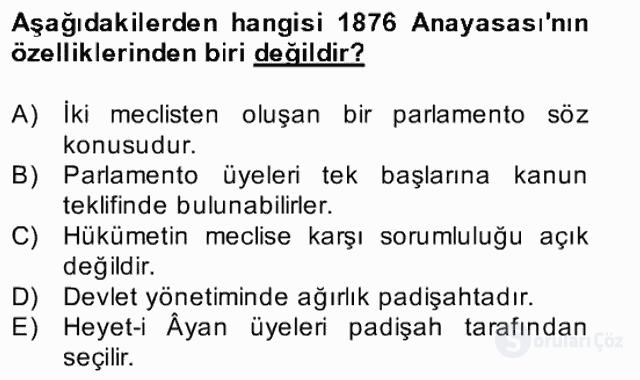 Türk Siyasal Hayatı Bahar Final 7. Soru