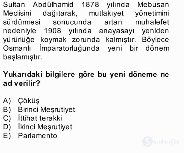 Türk Siyasal Hayatı Bahar Final 8. Soru