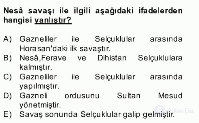 Büyük Selçuklu Tarihi Bahar Final 3. Soru