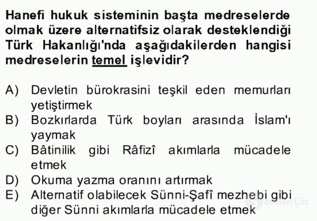 İlk Müslüman Türk Devletleri Bahar Final 18. Soru