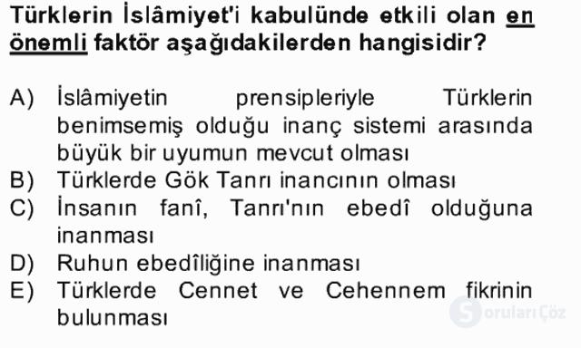 İlk Müslüman Türk Devletleri Bahar Final 2. Soru