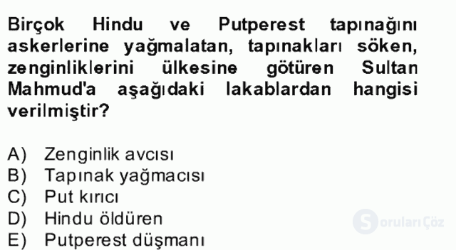 İlk Müslüman Türk Devletleri Bahar Final 23. Soru