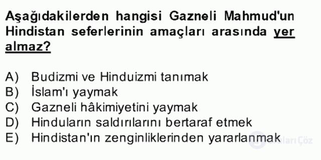 İlk Müslüman Türk Devletleri Bahar Final 24. Soru