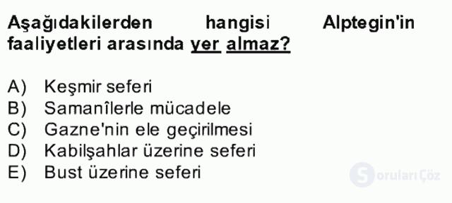 İlk Müslüman Türk Devletleri Bahar Final 26. Soru