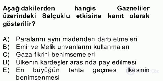 İlk Müslüman Türk Devletleri Bahar Final 29. Soru