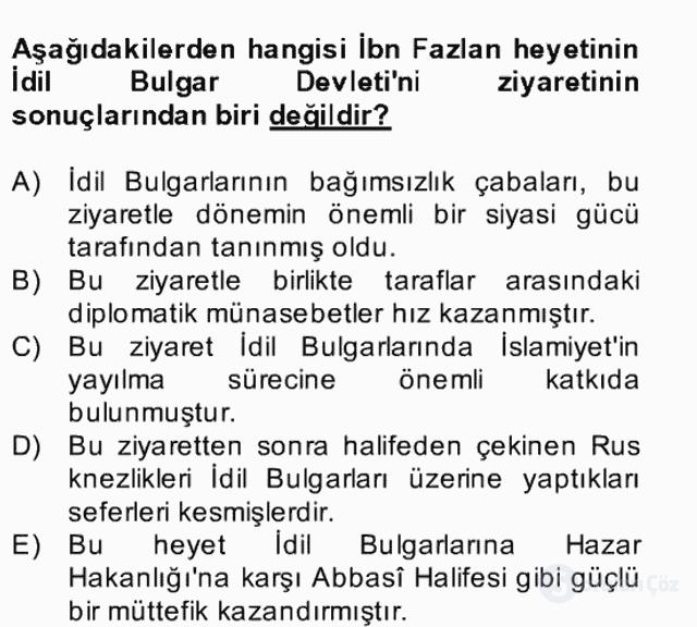İlk Müslüman Türk Devletleri Bahar Final 4. Soru