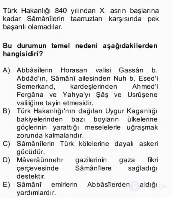 İlk Müslüman Türk Devletleri Bahar Final 7. Soru