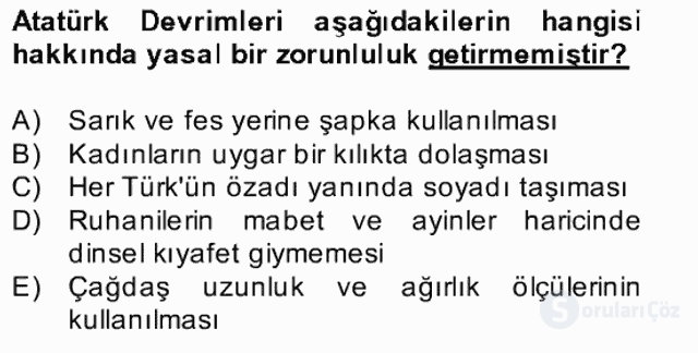 Atatürk İlkeleri ve İnkılap Tarihi II Bahar Final 11. Soru