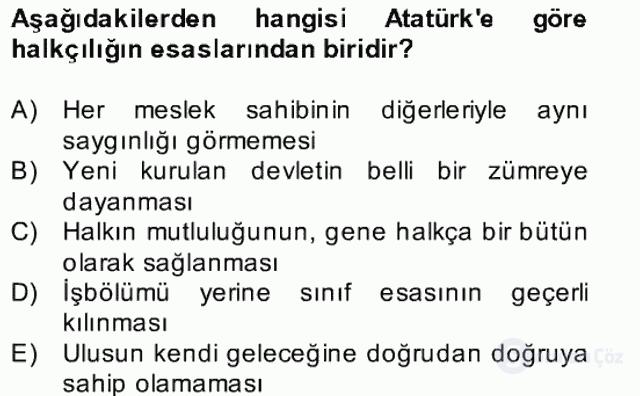 Atatürk İlkeleri ve İnkılap Tarihi II Bahar Final 19. Soru