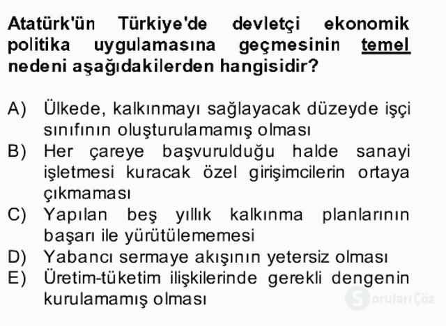Atatürk İlkeleri ve İnkılap Tarihi II Bahar Final 20. Soru
