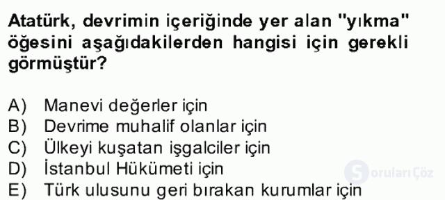 Atatürk İlkeleri ve İnkılap Tarihi II Bahar Final 24. Soru