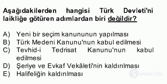 Atatürk İlkeleri ve İnkılap Tarihi II Bahar Final 7. Soru