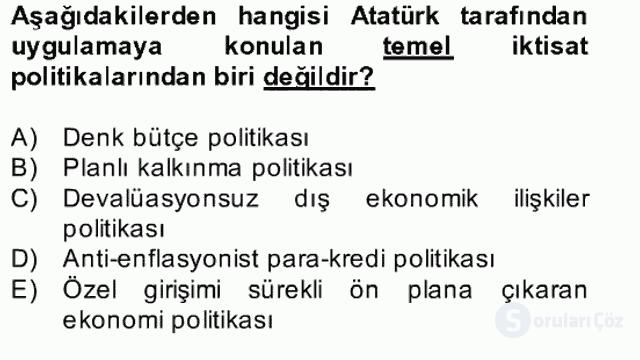 Atatürk İlkeleri ve İnkılap Tarihi II Bahar Final 9. Soru