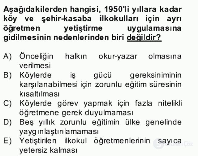 Türk Eğitim Tarihi Bahar Final 11. Soru
