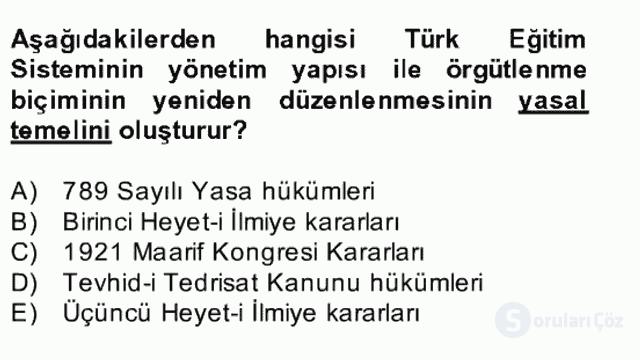 Türk Eğitim Tarihi Bahar Final 13. Soru