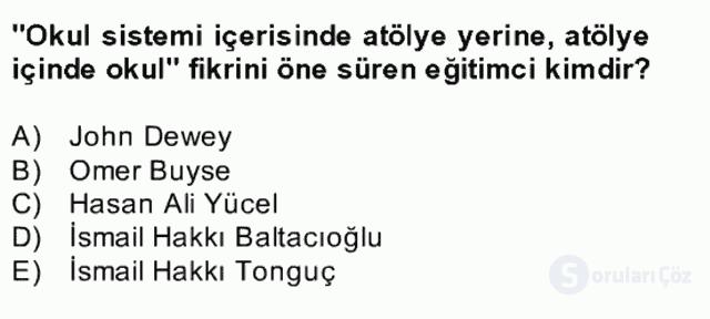 Türk Eğitim Tarihi Bahar Final 16. Soru