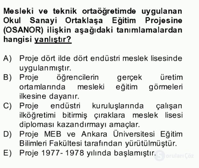 Türk Eğitim Tarihi Bahar Final 17. Soru