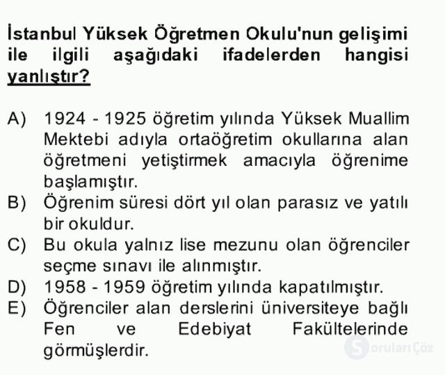 Türk Eğitim Tarihi Bahar Final 20. Soru