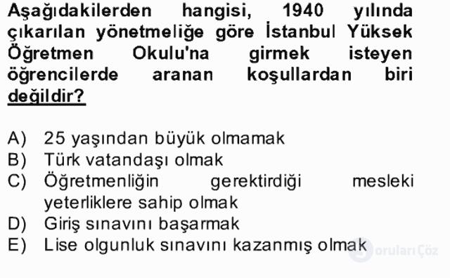 Türk Eğitim Tarihi Bahar Final 21. Soru
