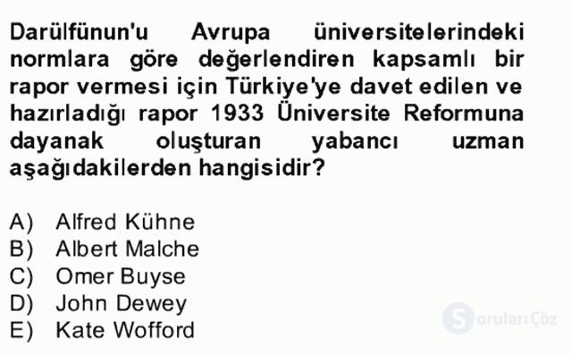 Türk Eğitim Tarihi Bahar Final 22. Soru