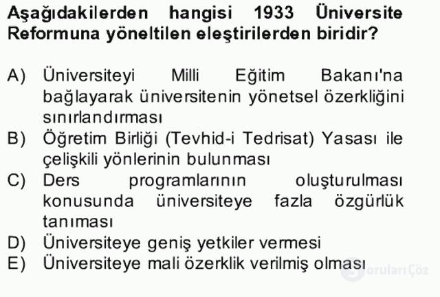 Türk Eğitim Tarihi Bahar Final 23. Soru