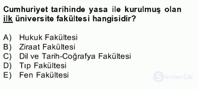 Türk Eğitim Tarihi Bahar Final 24. Soru