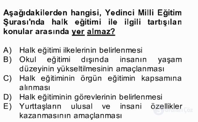 Türk Eğitim Tarihi Bahar Final 29. Soru