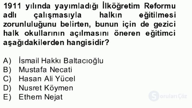 Türk Eğitim Tarihi Bahar Final 30. Soru